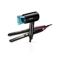 Nova 840 + 8105 Hair Straightener And Hair Dryer Styling Kit (Black)