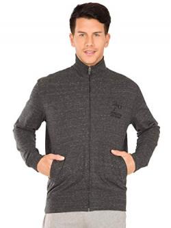 Jockey Men's Track Jacket (2730-0103-BLSML_Black Snow Melange_Medium)