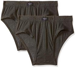 Pepe Jeans Innerwear Men's Solid Brief (Pack of 2) (CLB01-02_Charcoal Melange_80-85)