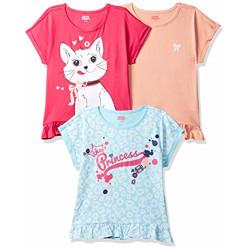 Amazon Brand - Jam & Honey Girl's Starred Regular Fit T-Shirt (Pack of 3) (AW19KGPO3854_Multicolor 1 6-7 Years)