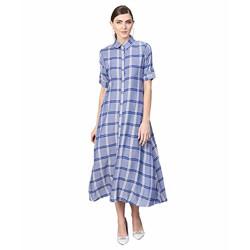 Gerua Cotton a-line Dress (G1981_Blue_X-Small)