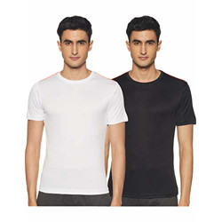 Cazibe Men's Solid Regular fit T-Shirt (Combo Pack of 2) (CZ11119_Black/White L)