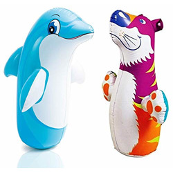 Little Kiddie City Hit Me Toy for Kids 3-D Inflatable Toy Water Base for Toddlers PVC Punching Bag for Children for Baby (Multicolored) (Tiger+Dolphin)