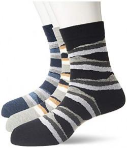 Longies Men Socks Mid Length regular Fit (Pack Of 3) (LSMLP3003_Multicolor_Free Size)