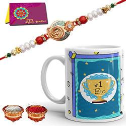 Tonkwalas Mug Rakhi Gift for Brother Combo (Designer Rakhi, Printed Coffee Mug, Rakshabandhan Special Card, Roli Chawal)