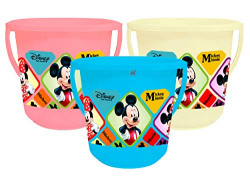 Fun Homes Disney Mickey Minnie Print Unbreakable Virgin Plastic Strong Bathroom Bucket ,16 LTR (Pink & Cream & Blue)-Pack of 3 -HS_35_FUNHOMES17867