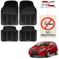Riderscart (4 Pcs) Car Rubber Foot/ Floor Anti- Slip Mats Set with No Smoking Hanging Air Freshner for Chevrolet Sail U-VA Car with Warranty