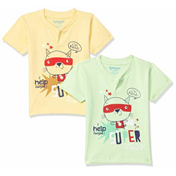 Bumchums Baby Boy's Quilted Regular fit T-Shirt (J165_Assorted Printed X-Large)
