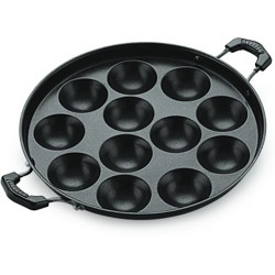 BMS Lifestyle Health-Pro Stainless Steel 12 Cavity side Handle Appam patra with Lid with Lid 0 L capacity 18 cm diameter(Stainless Steel, Non-stick)
