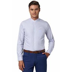 Peter England Men's Striped Slim Shirt (PESFMSLPT97161_Blue 46)