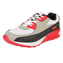 CLYMB Casual Men's Running Walking Shoes - Grey and Red