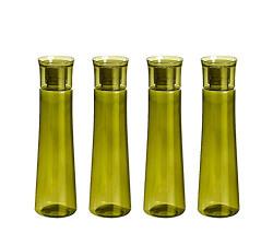 Steelo Selina Plastic Water Bottle, 1 Litre, Set of 4, Oliver Green