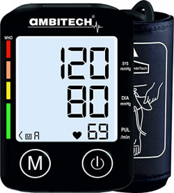 AmbiTech Digital Automatic Blood Pressure Monitor (Black) (Made in India) (1 YEAR WARRANTY)