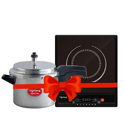 Lifelong LLCMB83 2000W Induction Cooktop and Pressure Cooker, Black, Silver
