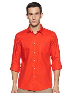 HammerSmith Men's Plain Regular fit Casual Shirt (1101-a_D.Red 38)