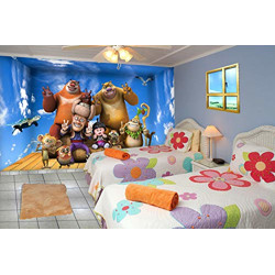 999store 3D Blue Sky and dablu bablu with Friends Kids Room Wallpaper (Self-Adhesive_4x5 Feet_Blue)