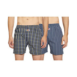 Fruit of the Loom Men's Checkered Boxers - Pack of 2 (MBS01-2P-A3C4-BL/NA-S)