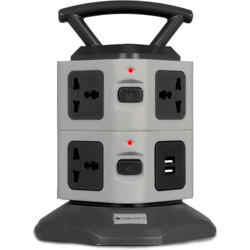 ZEBRONICS Zeb-TS3120USB Power strip with 7 Universal Socket, 2 USB Ports and 2.8 m Long Cable 7  Socket Extension Boards(Black, Grey)