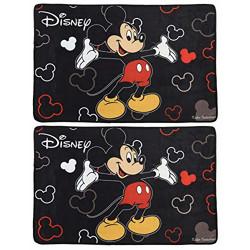 Fun Homes Disney Mickey Mouse 2 Pieces Anti-Slip Bath Mat 23 x15  (Black)