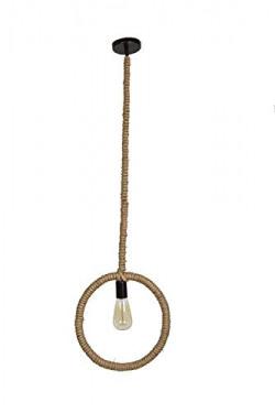 tu casa HG-05 Round Shape Rope pendent Light Jute Rope Holder Type e-27 Size 12x143  (Bulb not Included) (Light BRWN)