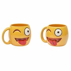 Anwaliya® Hand Made Smiling Face with Embossed Stuck-Out Tounge & Debossed Winking Eye Emoji Ceramic Tea Cup, Coffee Mug 250 ML. (1 Pc. & 1 Pc. Free)