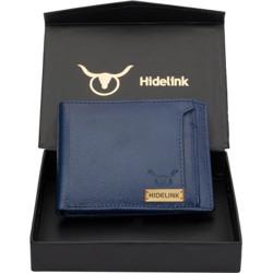 Hidelink Men Blue Genuine Leather Wallet(6 Card Slots)