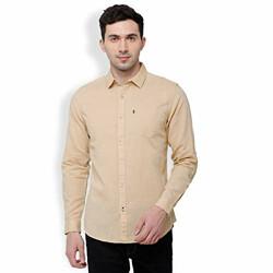 Horsefly Men's Solid Slim Fit Casual Shirt (HPSH000226_Beige_39)