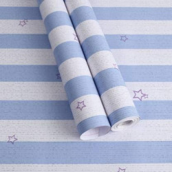 JB Collection Blue and White Stripes with Star Peel and Stick Self Adhesive Wallpaper Easily Removable - Bedroom Living Room Corridor Background Eco Wallpaper (200 X 45 cm)