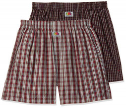 Fruit of the Loom Men's Checkered Boxers - Pack of 2 (MBS01-2P-A3C2-MR/BU-S)
