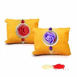 TIED RIBBONS Set of 2 Premium Rakhis for Brother - Designer Rakhis with Roli Chawal and Rakshabandhan Special Card