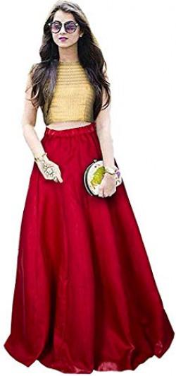 Nena Fashion Women's Net Semi-stitched NF Lehenga Choli (RED)