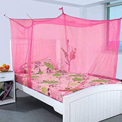 Divayanshi Pink Mosquito Net for Single Bed/Double Bed, 3x6.5 Insect Protection Net