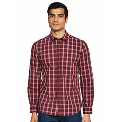 Amazon Brand - Symbol Men's Checkered Regular fit Casual Shirt (AW20-SY-YDT-14_Red&White S)