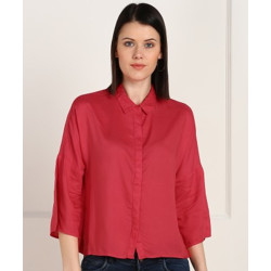 PROVOGUE Casual 3/4 Sleeve Solid Women Pink Top