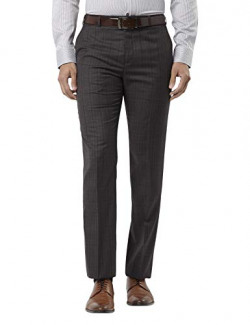 Raymond Solid Synthetic Dark Grey Regular Fit 0 0 Trouser