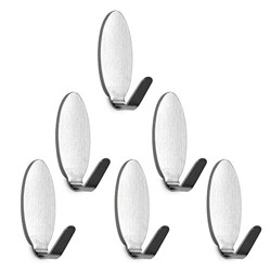 vinayaka mart Steel Adhesive Oval Wall Hooks for Room, Kitchen, Bathroom, Clothes, Load Capacity 300 Gms (Silver) - 6 Pieces
