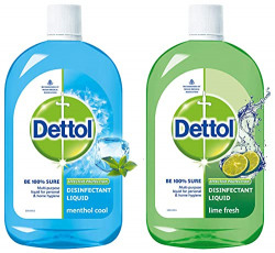 Dettol Liquid Disinfectant for Multi-Purpose Germ Protection, Menthol Cool, 500ml and Dettol Liquid Disinfectant Cleaner for Home, Lime Fresh, 500ml