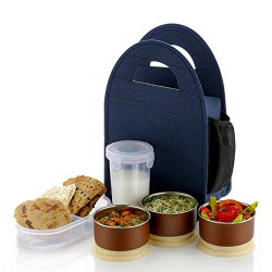 Dabster Lunch Box with 3 Push up Air Tight Leakage Proof Containers, 1 Caserolles Set with Plastic Bottle