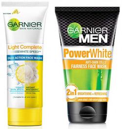 Garnier Skin Naturals Light Complete Duo Action Facewash, 100g & Garnier Men Power White Anti-Dark Cells Fairness Face Wash, 100g