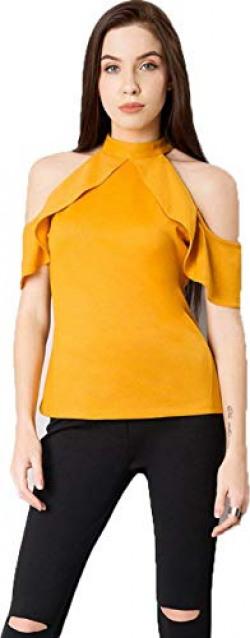 Impartus Women's Plain Yellow Color Regular Fit Top (X-Large)