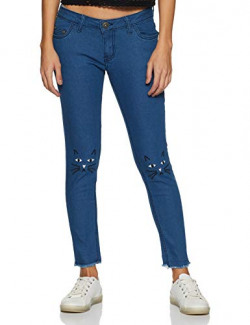ABOF Women's Blue mid Rise Embroidery Skinny Jeans