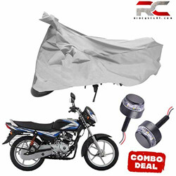 Riderscart All Season (Weather) Waterproof Bike Cover for Bajaj CT 100 Indoor Outdoor Protection Combo with Storage Bag and Handle Bar Light
