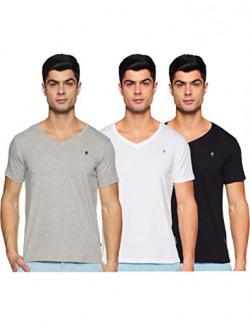 French Connection Men's Plain Regular fit T-Shirt (Pack of 3) (VHS01-3N_Black/White/Grey Melange M)