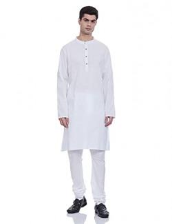 Amazon Brand - Symbol Men's Cotton Kurta Pyjama (SYMETHSET-5_White_Large)