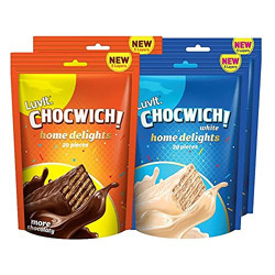 LuvIt Chocwich & Chocwich White Home Delights Wafer Chocolates | Crunchy & Delicious | Homepack | Gift Combo | Pack of 4 - 187g Each