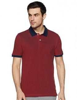 Amazon Brand - Symbol Men's Solid Regular fit Polo (SPK-16_Estate Red&Iris Navy L)