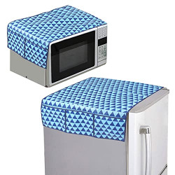 PrettyKraftsAppliance Cover Combo of 1 Refrigerator Top Cover and 1 Microwave Top Cover - (Blue) Set of 2