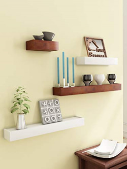 Home Sparkle Wood Floating Shelf (Brown & White, Set of 4)