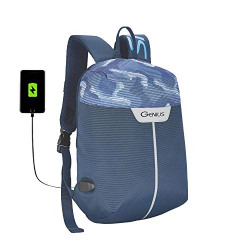 Genius 38 cms Blue Firefly Compact Anti-Theft Backpack with USB Charging Port, Tablet Sleeve and Water Resistant Material