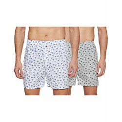 Amazon Brand - Symbol Men's Printed Cotton Boxers (Combo Pack of 2)(SYMDURBXPO2-21_White, Grey_S) (Color & Prints May Vary)